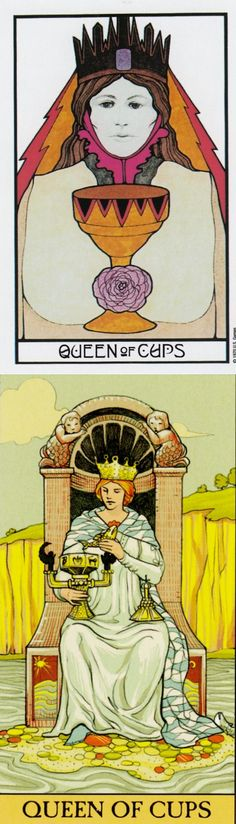 Queen of Cups: kind and over-reliance on her kindness (reverse). Aquarian Tarot deck and After Tarot Tarot deck: tarrot free, tarotlenormand and free accurate tarot reading. The best predictions and witch aesthetic. #pentacle #gothwitch #magic #hermit #empress #spell