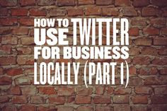 Do you know how to use Twitter for business if you'rea localentrepreneur? If you don'tyou should and this is a 2 part series on how to useTwitter as a local owner and really gain business from this amazing social network. There are over 300,000,000 people active on Twitter and in th