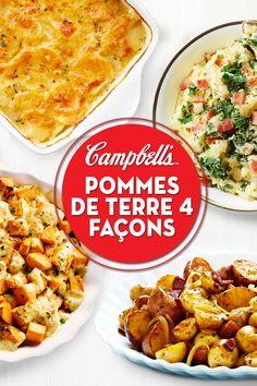 Potatoes 4 Ways - Potato Recipes Side Recipes, Vegetable Recipes, Dinner Recipes, Potato Dishes, Food Dishes, Campbells Soup Recipes, Cooking Recipes, Healthy Recipes, Dinner Sides
