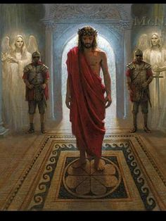 """Awaiting the Command of Pilate. """"Do you think I cannot call on my Father, and He will at once put at my disposal more than twelve legions of angels?"""" (Matthew 26:53)  Angels standing with great anticipation to at any moment intercede and destroy the wicked enemy, if Jesus so commands.  Powerful image.  He did it for you and for me."""