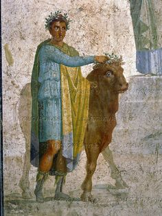 Offering a bull for sacrifice Fresco from Pompeii; 1st century CE Museo Archeologico Nazionale, Naples, Italy