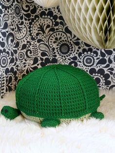 Crochet floor pouf ottoman green turtle children's by ohbAby1112 #crochetpouf