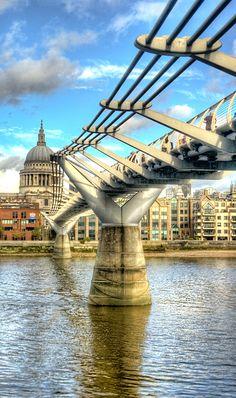 London. Millennium Bridge  St Paul's, from the Tate Modern.