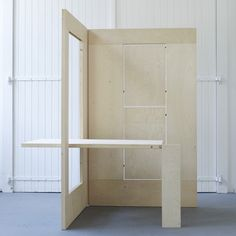 Dutch designers Kapteinbolt have created a collapsible plywood workspace. The whole arrangement can be folded flat and leaned against a wall when not in use.
