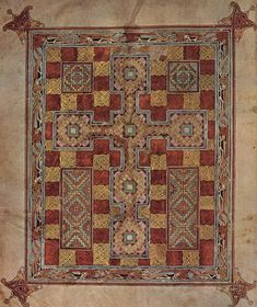 """""""According to Bernard Meehan the Book of Durrow [similar to the Lindisfarne Gospels] is """"the earliest surviving fully decorated insular Gospel manuscript,"""""""