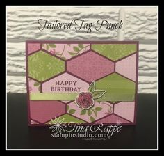 Masculine or Feminine, the Tailored Tag Punch makes stunning cards featuring the Paper Piecing technique. Birthday Cards For Women, Happy Birthday Cards, Birthday Wishes, Birthday Images, Birthday Quotes, Birthday Greetings, Punch Art Cards, Cards For Friends, Friend Cards