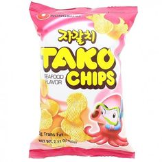Nongshim Tako Chips Snack (◕ᴥ◕) Kawaii Panda - Making Life Cute Japanese Grocery, Japanese Snacks, Japanese Candy, Japanese Sweets, Cute Food, Yummy Food, Asian Snacks, Korean Products, Lunch Snacks