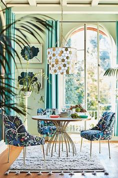 Seaford Pedestal Dining Table by Anthropologie in Yellow Size: All Tables Luxury Dining Room, Dining Room Design, Herman Miller, Cafe Chairs, Dining Chairs, Room Chairs, Pedestal Dining Table, Tropical Decor, Colorful Decor
