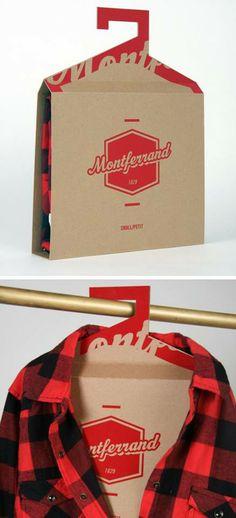 Un #packaging pour des chemises qui a la particularité de se transformer en cintre une fois ouvert, bien vu !
