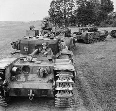 Churchill tanks of Troop, 'B' Squadron, Regiment Royal Armoured Corps, Tank Brigade. Canadian Army, British Army, British Tanks, Churchill, Tank Warfare, D Day Normandy, British Armed Forces, Army Vehicles, Armored Vehicles