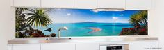 Printed image on glass kitchen splashback / backsplash by Lucy G. 'Achilles Point Lookout' http://www.lucygsplashbacks.co.nzLucy works with customers all over the world.