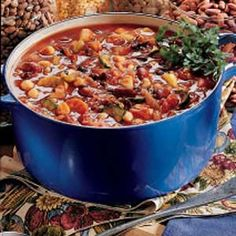 Vegetable Chili Recipe -This chili, packed with beans and vegetables, has an appealing red color and fabulous flavor. I always make a large batch so that everyone can have seconds. — Charlene Martorana, Madison, Ohio