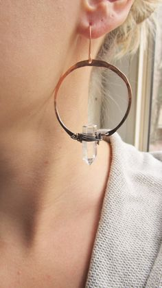 Hoop Earrings Raw Quartz Crystal Point Copper Hoops Ombre Jewelry DanielleRoseBean Lalrge Hoop Earrings