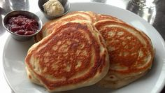 Vanilla Bean Pancakes with Rhubarb preserves and honey butter.
