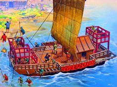 A Gang of Wako (Japanese Pirates) Disembark on the Coast of Korea and Begin a Raid Inland