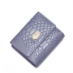 NUCELLE  Krótki   damski portfel z linią krokodyla Purpurowy