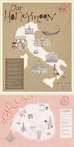"a cute new way to document, or ""scrapbook"" your honeymoon or how you met by turning it into a ""map"" that you can show off or gift to someone else. {I want to travel all over Italy, and then do something like this! Wedding Scrapbook, Travel Scrapbook, Scrapbook Pages, My Bebe, Wedding Honeymoons, Custom Map, Oui Oui, Travel Memories, Wedding Album"