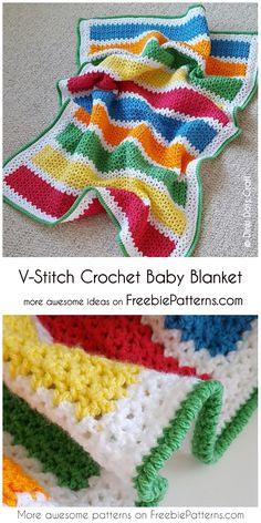 Crochet Afghan V-Stitch Crochet Baby Blanket Crochet Bebe, Crochet Baby Booties, Diy Crochet, Crochet Things, Crochet Crafts, Diy Dog Blankets, Easy Crochet Projects, Crochet Ideas, Crochet Designs