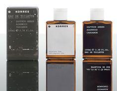 Saffron Amber Agarwood Cardamom Korres cologne - a fragrance for men 2009 Skincare Packaging, Perfume Packaging, Bottle Packaging, Beauty Packaging, Print Packaging, Simple Packaging, Monospace, First Perfume, New Fragrances