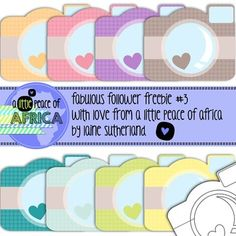 This is the 3rd instalment of my Fabulous Followers Freebies! 3 down - 4 to go! :D  Enjoy these quirky colourful little cameras!  Have a happy day TpT's. Don't forget to pop by my store, follow me and like my Facebook page for great specials and freebies! www.facebook.com/alittlepeaceofafrica