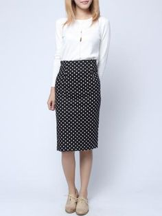 Slim Wave Point Print Package Hip Vent Skirt  This could be a work outfit.