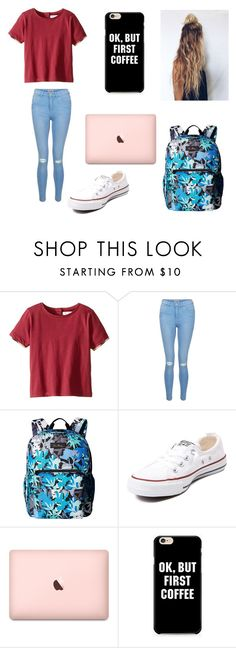 """""""Today's BTS OOTD DAY #21. Home football game today"""" by jazzygirl3 ❤ liked on Polyvore featuring Burberry, New Look, Vera Bradley and Converse"""