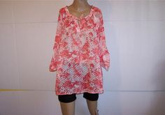 VERVE Shirt Blouse Plus 1X Coral Floral Sheer 3/4 Sleeves Tie Front Women NWT #Verve #Blouse #Casual
