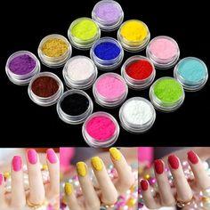Nail Art Nail Powder Tips Fuzzy Flocking Velvet Tools 16 Colors+Tweezer New EP98
