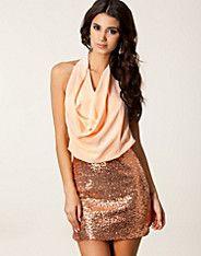Halter Chiffon Sequin Dress - Lili London - Peach - Partykleider - Kleidung - NELLY.DE Mode online