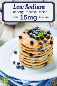 Easy Low Sodium Blueberry Pancakes Store bought pancake mix can be really high in sodium. This low sodium blueberry pancake recipe is simple, delicious, and only sodium per pancake! Low Sodium Snacks, No Sodium Foods, Low Sodium Recipes, Low Sodium Desserts, Blueberry Pancakes, Blueberry Recipes, Blueberry Breakfast, Low Sodium Waffle Recipe, Low Iodine Diet