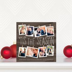 Photo Garland - Flat #Holiday Photo Cards in a beautiful wood inspired design.