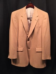 Hart Schaffner Marx Sport Coat Comfort Mens 44R Made USA Men's Blazer Camel #HartSchaffnerMarx #TwoButton