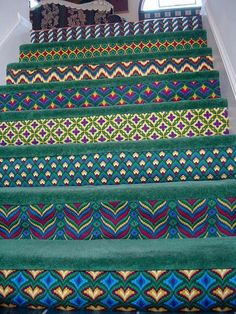 Stair risers, needlepoint.....All I can say is OMG!  Would love to the rest of the house!