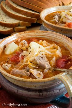 Kapusta - a delicious, traditional Polish cabbage soup made with pork, cabbage, sauerkraut, carraway seed, onion and my Babci's secret ingredient - stewed tomotoes.