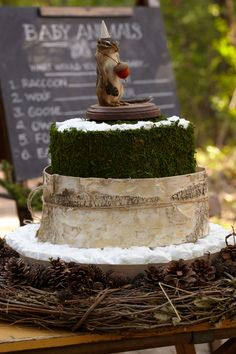 Woodland-Themed Diaper Cake. Three-tiered diaper cake with 100 HUGGIES® Pure & Natural Diapers featuring birch bark, a twig wreath, and a moss trim.