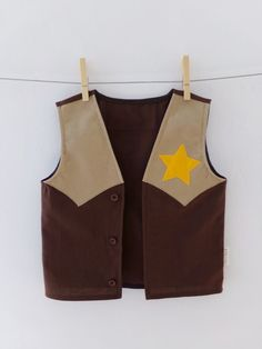 Kids Cowboy Vest Dress up Handmade 100% Cotton Sheriff