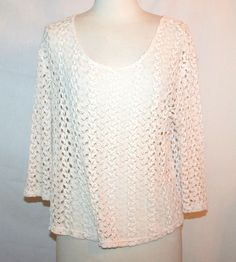 Urban Outfitters Staring At Stars Ivory Natural Crochet SeeThru Top