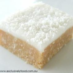 Lemon Coconut Slice: if you love lemons.... this slice is my all-time favourite & disappears at work morning teas! And there's no baking so good for hot summers! (Aust measurements - but is forgiving enough could be just done as equal US) Arrowroot biscuits are plain biscuits - perhaps substitute Graham crackers?)