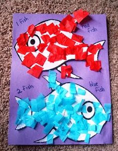 read them the Dr.Seuss book then do this fun 2 Fish, Red Fish, Blue Fish read them the Dr.Seuss book then do this fun 2 Fish, Red Fish, Blue Fish Dr. Seuss, Dr Seuss Week, Daycare Crafts, Classroom Crafts, Preschool Crafts, Dr Seuss Activities Preschool, The Rainbow Fish, Red Fish Blue Fish, One Fish Two Fish