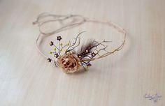 Rustic bridal crown beige flower crown feather headband