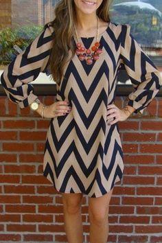 Long Sleeve Zig Zag Dress: Long Sleeve Dresses   ZAFUL
