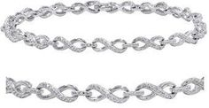 Amanda Rose Collection Ags Certified 1/10ct Tw Diamond Infinity Tennis Bracelet In .925 Sterling Silver.