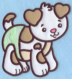 Baby Puppy applique | Applique Machine Embroidery Design or Pattern