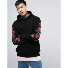 Parca Hoodie With Rose Sleeve Print ($81) ❤ liked on Polyvore featuring men's fashion, men's clothing, men's hoodies, black, mens cotton hoodies, mens hoodies, mens short sleeve hoodies, mens sweatshirts and hoodies and mens patterned hoodies