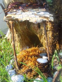 Birch Bark shingles - Fairy Doors: 9 Creative Fairy Doors Ideas You Can Do Yourself : Roots Nursery