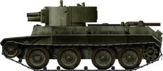 BT-7A, an infantry support variant equipped with a modified T-28 turret and 75 mm (2.95 in) short barreled howitzer.