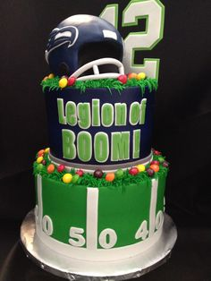 Seahawks Inspired Cake For Super Bowl 48 My Birthday