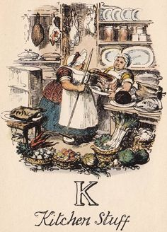 """K: Kitchen Stuff"" from ""A Comic Alphabet"" by George Cruikshank (1836)"