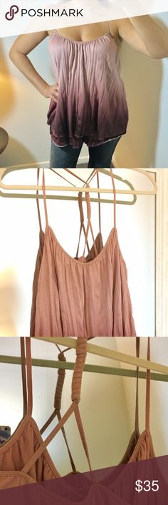 Anthropologie top NWOT Took the tags off but never worn except to try on. From Anthropologie, Akemi + Kim. Super cute tank with two cascading layers and ombré mauve colors. 100% polyester, hand wash cold or dry clean. Anthropologie Tops Tank Tops