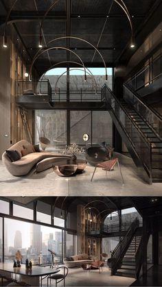 Loft House Design, Loft Interior Design, Dream House Interior, Dream Home Design, Modern House Design, Home Interior, Small House Design, Luxury Interior, Industrial Interior Design